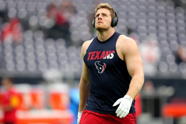 Houston Texans defensive end J.J. Watt (99) was injured in Sunday's loss to the Kansas City Chiefs. Photo by Erik Williams/UPI