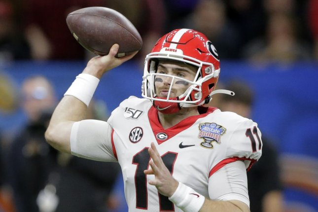 Georgia Bulldogs quarterback Jake Fromm throws a pass against the Baylor Bears during the Sugar Bowl on Jan. 1, 2020, in the Mercedes-Benz Superdome in New Orleans. Photo by AJ Sisco/UPI