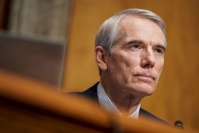 Sen. Rob Portman, R-Ohio, questions Homeland Security Secretary-designate Alejandro Mayorkas during a confirmation hearing on Capitol Hill in Washington, D.C., last Tuesday. Photo by Joshua Roberts/UPI/Pool