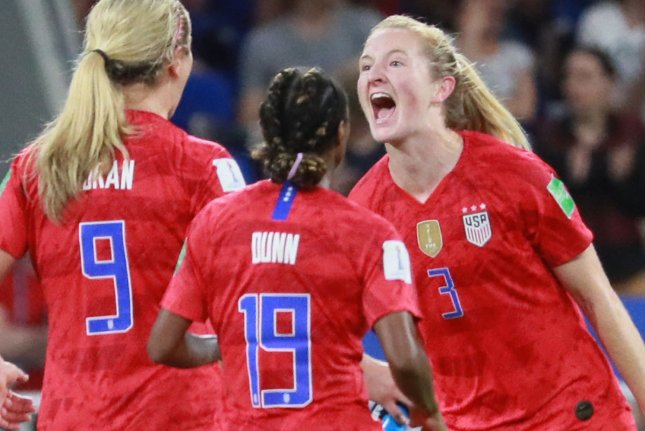Sam Mewis (R) scored the only goal in the United States Women's National Team's win over Portugal in a soccer friendly Thursday in Houston. File Photo by David Silpa/UPI