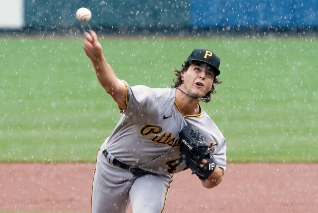Pittsburgh Pirates starting pitcher Max Kranick delivers a pitch to the St. Louis Cardinals during a thunderstorm in the first inning Sunday at Busch Stadium in St. Louis. Photo by Bill Greenblatt/UPI