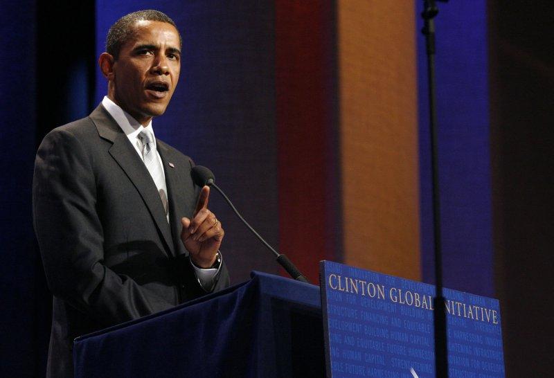 U.S. President Barack Obama speaks at the Clinton Global Initiative at the Sheraton Hotel in New York City on September 22, 2009. UPI/John Angelillo