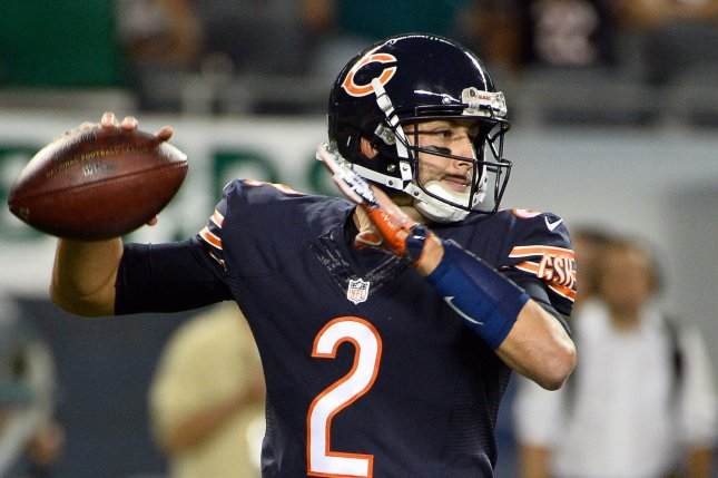ca984ab4573 Chicago Bears quarterback Brian Hoyer throws the ball during the fourth  quarter against the Philadelphia Eagles at Soldier Field in Chicago on  September 19, ...