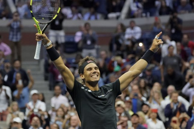 Rafael Nadal of Spain celebrates his straight set win over Kevin Anderson of South Africa during their championship match in Arthur Ashe Stadium at the 2017 US Open Tennis Championships at the USTA Billie Jean King National Tennis Center in New York City on September 10, 2017. File photo by Ray Stubblebine/UPI