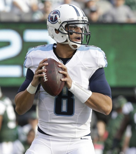 Marcus Mariota and the Tennessee Titans play host to the Cincinnati Bengals on Sunday. Photo by John Angelillo/UPI