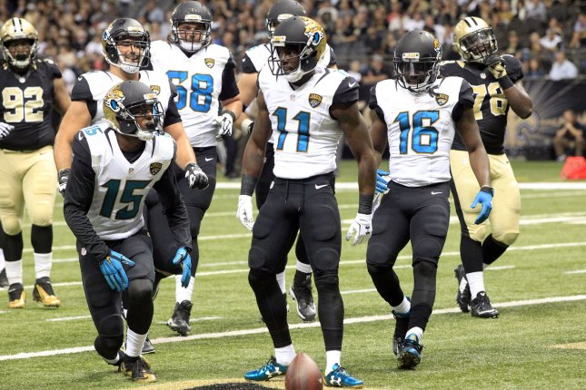Jacksonville Jaguars receiver Marqise Lee (11) celebrates a touchdown catch against the New Orleans Saints during as recent game. Photo by AJ Sisco/UPI