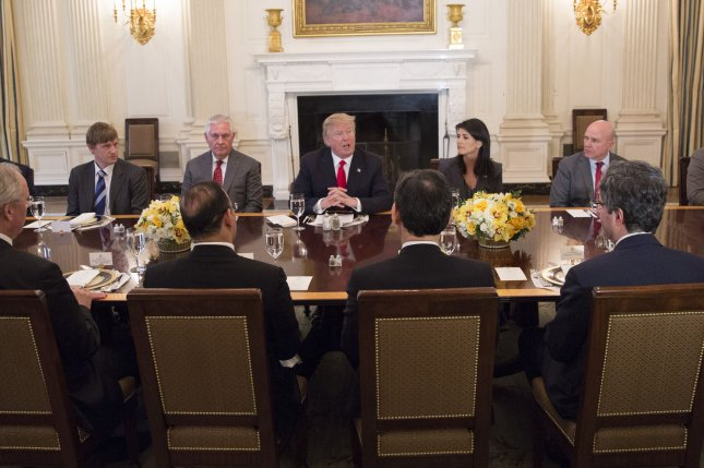 President Donald Trump delivers remarks during a lunch with the United Nations Security Council at The White House on January 29. Photo by Chris Kleponis/UPI