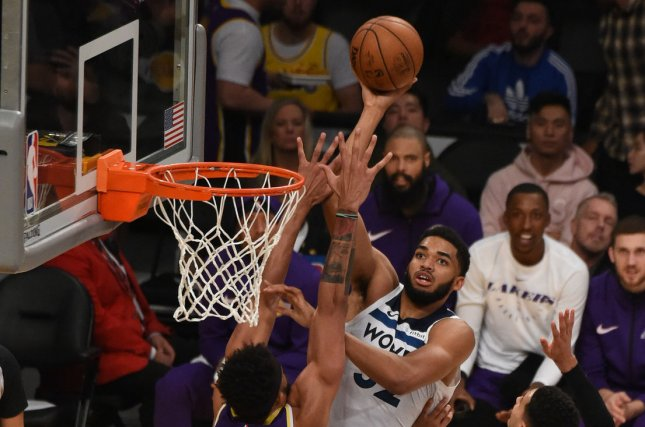 Minnesota Timberwolves center Karl-Anthony Towns scored a game-high 28 points in a win against the Los Angeles Lakers on Sunday at the Target Center in Minneapolis. Photo by Jon SooHoo/UPI