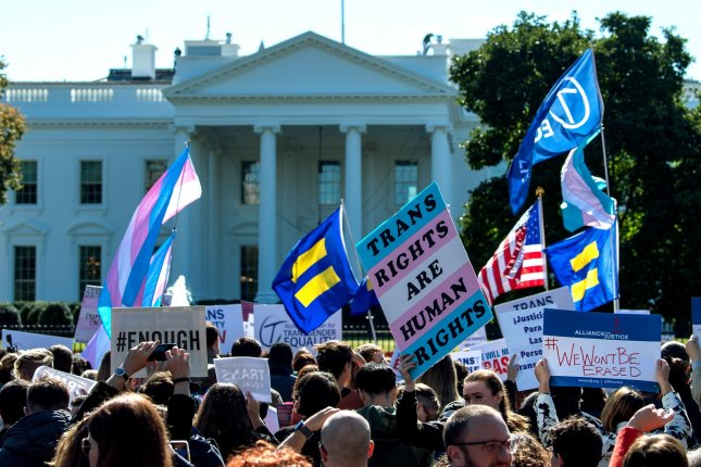 Transgender activists demonstrate in front of the White House on October 22, 2018. File Photo by Kevin Dietsch/UPI