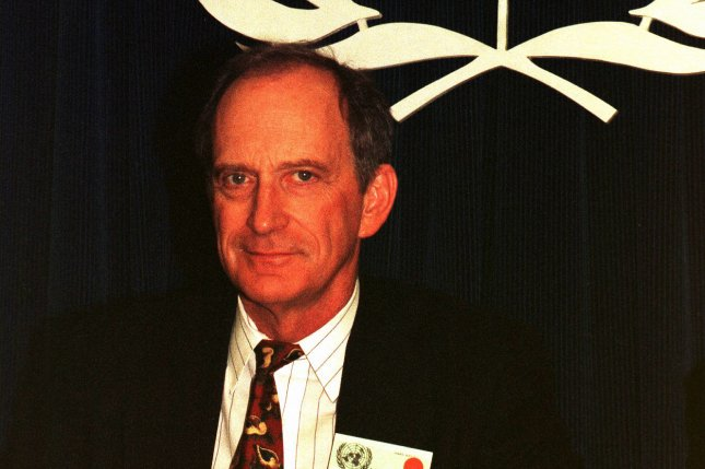 The creator of Earth Day, Dennis Hayes, attends a press conference on April 22, 1999, at the United Nations in New York City to announce plans for Earth Day 2000. On April 22, 1970, Earth Day was first observed. File Photo by Ezio Petersen/UPI