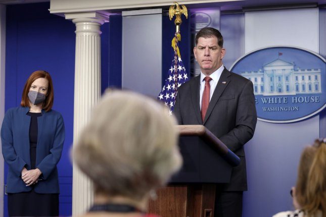Labor Secretary Marty Walsh speaks with reporters at the White House in Washington, D.C., on April 2. Walsh's department signed off on the rule change Wednesday. Photo by Yuri Gripas/UPI
