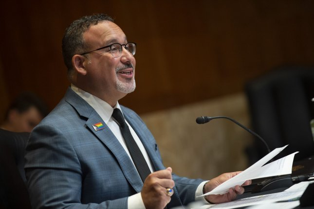 Secretary of Education Miguel Cardona testifies during a Senate Appropriations Subcommittee hearing Wednesday. Photo by Bonnie Cash/UPI