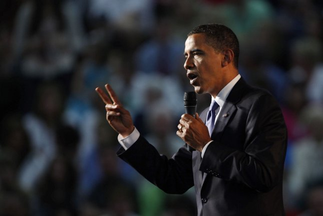 President Barack Obama addresses health care reform during a town hall style meeting at Green Bay Southwest High School on June 11, 2009 in Green Bay, Wisconsin. Obama will continue pushing his health care agenda next week when he meets with the American Medical Association's House of Delegates in Chicago. (UPI Photo/Brian Kersey)