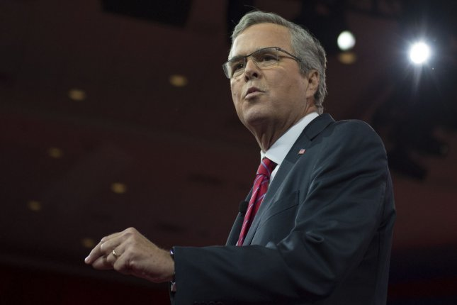 Former Florida Gov. Jeb Bush said that if you run the right kind of campaign, you don't need massive amounts of money. File Photo by Molly Riley/UPI