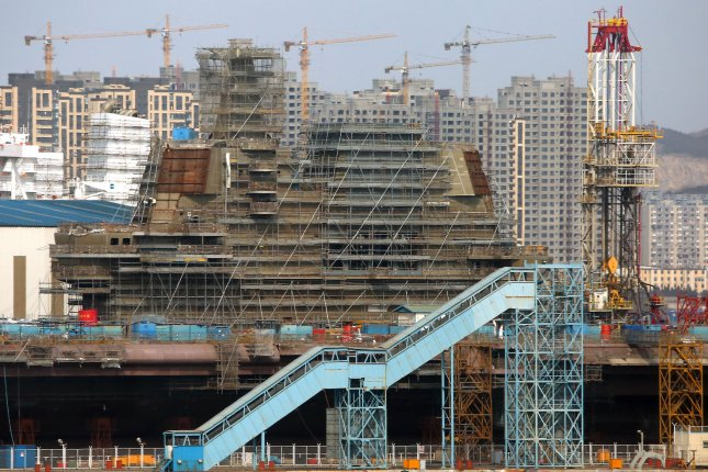 China's second aircraft carrier, currently called the 001A, is under construction in the port city of Dalian in Liaoning Province, on February 8, 2017. China's state-run media reported its first home-made carrier could start patrolling the contentious South China Sea by 2019 to handle complicated situations. Photo by Stephen Shaver/UPI