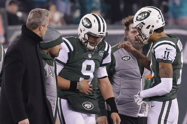 New York Jets Bryce Petty comes out of the game after getting hit in the second half against the Miami Dolphins in week 15 of the NFL at MetLife Stadium in East Rutherford, New Jersey on December 17, 2016. Photo by John Angelillo/UPI