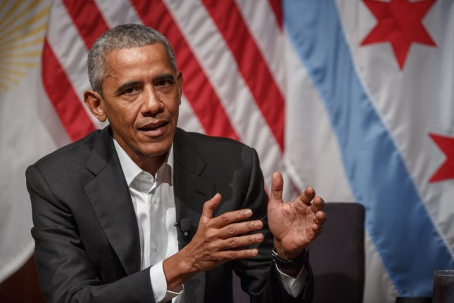 Former U.S. President Barack Obama speaks to a group of young leaders at the Logan Center for the Arts at the University of Chicago on April 24. File Photo by John Gress/UPI