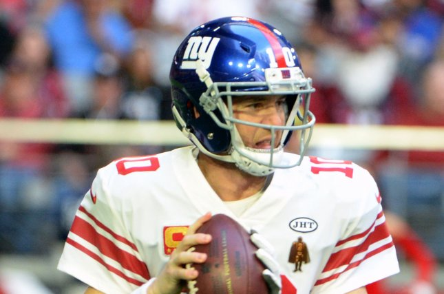 New York Giants' quarterback Eli Manning sets to throw in the first quarter against the Arizona Cardinals at University of Phoenix Stadium in Glendale, Arizona December 24, 2017. File photo by Art Foxall/UPI