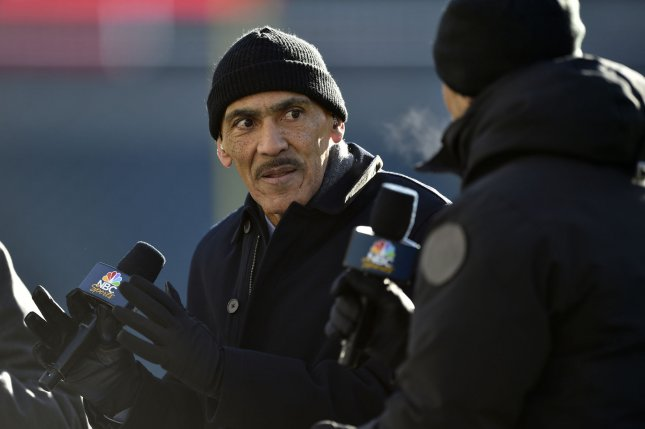 Former NFL coach and current NBC sports football analyst Tony Dungy sits on the set prior to an NFC divisional playoff game between the Philadelphia Eagles and the Atlanta Falcons in January. Photo by Derik Hamilton/UPI