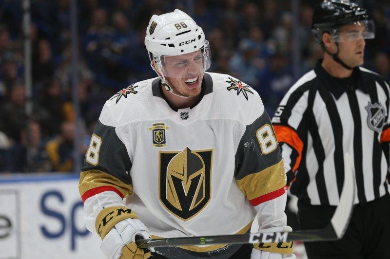 Vegas Golden Knights forward Nate Schmidt scored a 1-on-5 goal against the Boston Bruins on Wednesday night. File Photo by Bill Greenblatt/UPI