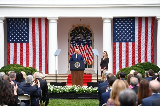 Washington, D.C.'s health department sent a letter on Thursday urging attendees to the Sept. 29 announcement of Amy Coney Barrett at the Rose Garden and others close to the White House to get tested for COVID-19.Photo by Kevin Dietsch/UPI