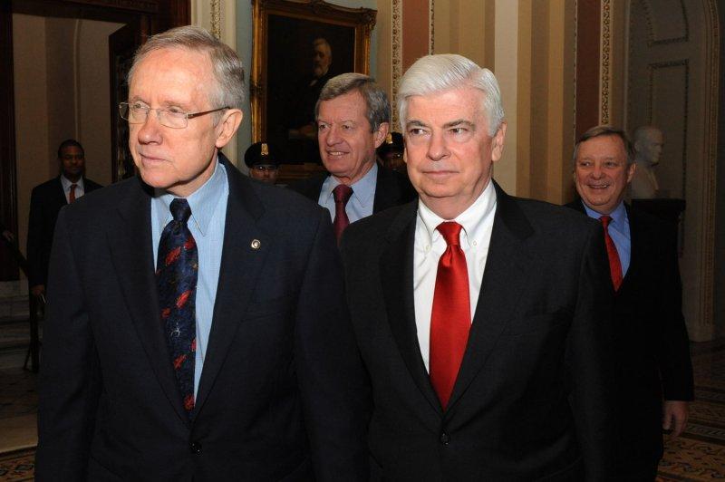 Senate Majority Leader Harry Reid, D-Nev. (L),, Senate Banking Committee Chairman Christopher Dodd, D-Conn. (R). UPI/Pat Benic