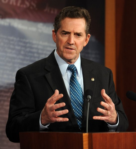 Sen. Jim DeMint, R-SC, calls for a bill that would permanently extend the current individual tax rates on Capitol Hill in Washington on December 2, 2010. UPI/Roger L. Wollenberg