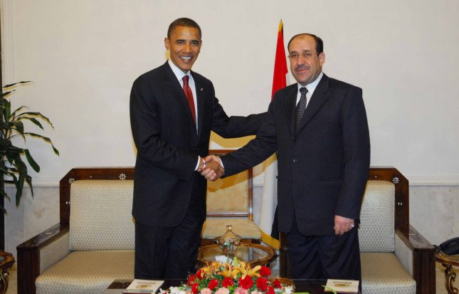 Presidential candidate Barack Obama (L) visited with Iraqi Prime Minister Nuri Al-Maliki in Baghdad on July 21, 2007. Obama is on a Middle East tour that includes Afghanistan,, Iraq, Jordan, Palestine and Israel. (UPI Photo) ..