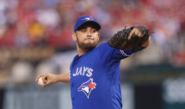 Marco Estrada and the Toronto Blue Jays take on the Tampa Bay Rays on Sunday. Photo by Bill Greenblatt/UPI