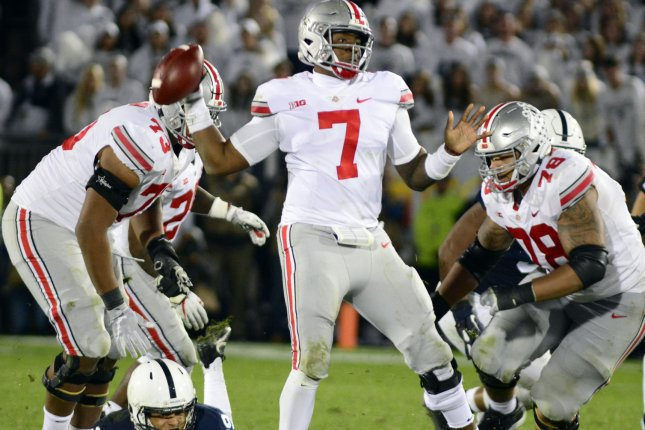 Former Ohio State Buckeyes star Dwayne Haskins (7) was the third quarterback selected in the 2019 NFL Draft. File Photo by Archie Carpenter/UPI