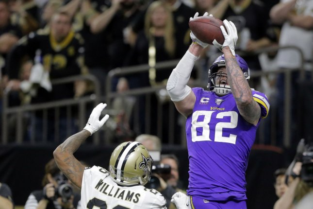 Minnesota Vikings tight end Kyle Rudolph (82) catches a Kirk Cousins pass for a touchdown during overtime in the NFC Wild Card Round on Sunday at the Mercedes-Benz Superdome in New Orleans. Photo by AJ Sisco/UPI
