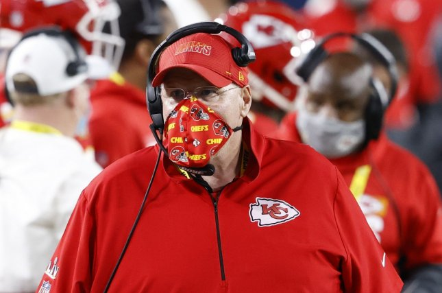 Kansas City Chiefs assistant coach Britt Reid, who was involved in a multi-vehicle crash last week, is the son of Chiefs head coach Andy Reid (pictured). Photo by John Angelillo/UPI