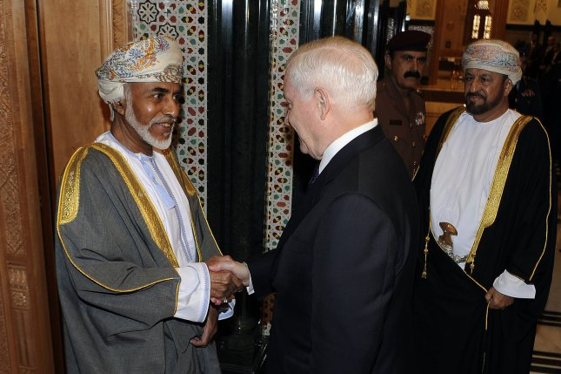 U.S. Defense Secretary Robert M. Gates is greeted by Omani Sultan Qaboos at the Bait Al Baraka Palace in Muscat, Oman, December 5, 2010. UPI/Jerry Morrison/DOD