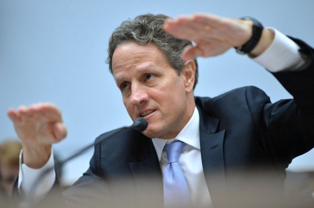 Former Treasury Secretary Timothy Geithner testifies during a House Financial Services Committee hearing. In Geithner's recently published and already controversial memoir which has been getting attention Monday, the former secretary of the treasury refers to handling the financial crisis as landing a plane on fire. UPI/Kevin Dietsch