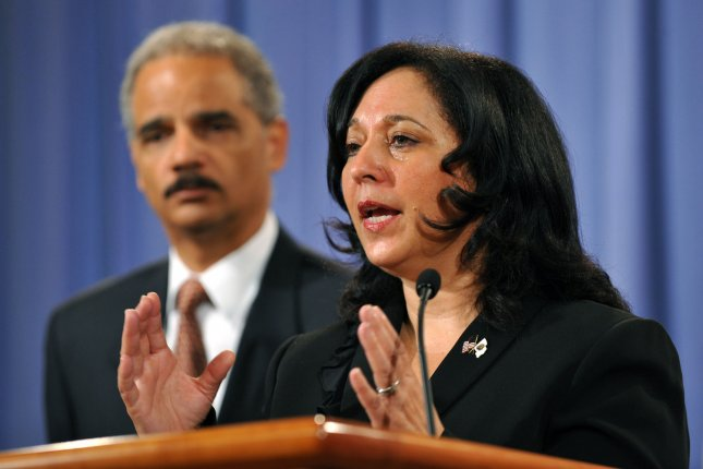 DEA (Drug Enforcement Administration) Administrator Michele Leonhart (R) and U.S. Attorney General Eric Holder at a 2009 news conference. UPI File Photo/Kevin Dietsch