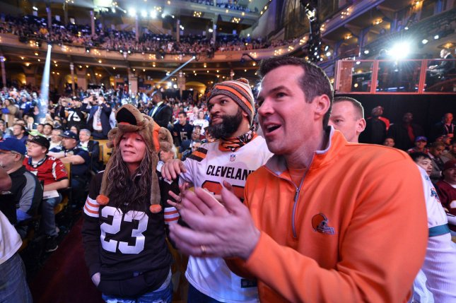 Cleveland Brows fans cheer as Baylor wide receiver Corey Coleman is announced as the 15th overall pick by the Browns in the 2016 NFL Draft on April 28, 2016 in Chicago. Photo by Brian Kersey/UPI