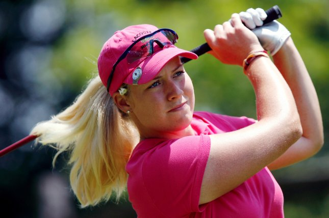 Brittany Lincicome watches her drive. (UPI Photo/John Angelillo) .