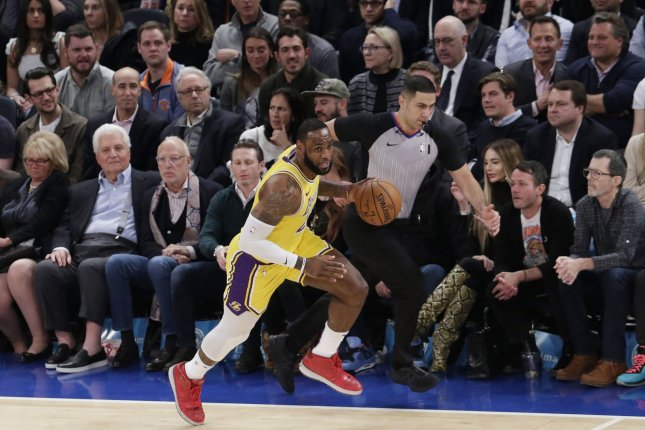 Los Angeles Lakers star LeBron James scored 29 points in a win against the Boston Celtics Sunday in Los Angeles. File Photo by John Angelillo/UPI