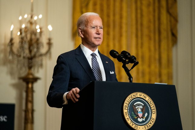 U.S. President Joe Biden delivers remarks at a virtual event hosted by the Munich Security Conference in the East Room of the White House on Friday. Pool Photo by Anna Moneymakert/UPI