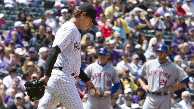 Jamie Moyer walks to the mound for the Colorado Rockies in a game against the New York Mets April 29, 2012. UPI/Gary C. Caskey