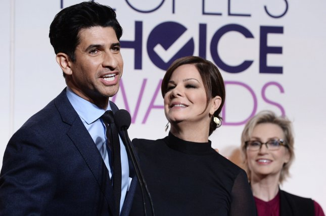 Code Black cast members Raza Jaffrey (L) and Marcia Gay Harden (C) announce nominations for the 2016 People's Choice Awards at the Paley Center for Media in Beverly Hills on Nov. 3, 2015. Photo by Jim Ruymen/UPI
