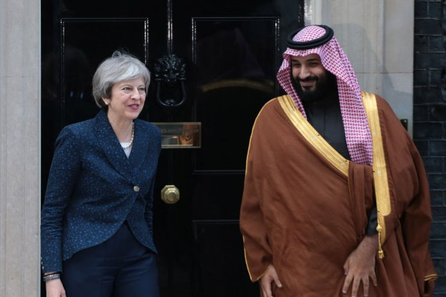Saudi Crown Prince Mohammed bin Salman meets British Prime Minister Theresa May at 10 Downing Street in London on Wednesday. Photo by Hugo Philpott/UPI