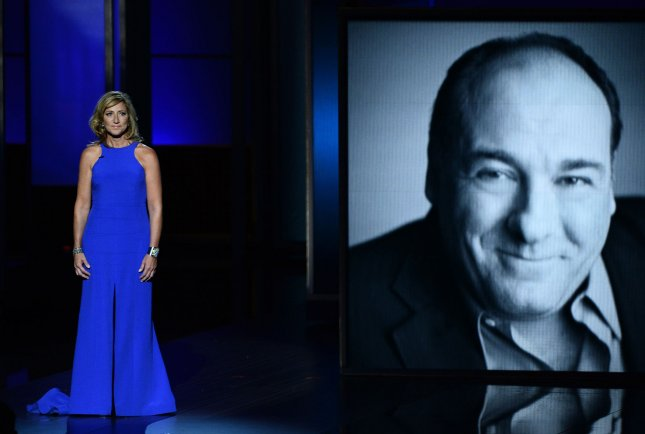 Actress Edie Falco speaks during an in memoriam segment for fellow Sopranos star James Gandolfini at the 65th annual Primetime Emmy Awards in Los Angeles on September 22, 2013. A film prequel to the popular TV series is now in the works. File Photo by Jim Ruymen/UPI