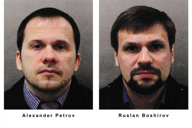 Investigators with the open source group Bellingcat say they have found an old passport photo that shows the true identify of one of the men accused in the Skripal poisonings. The man is a highly decorated intelligence officer with the GRU, the group claims. Photo courtesy Met Police UK/UPI