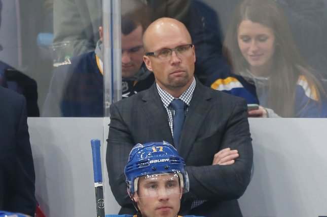 St. Louis Blues head coach Mike Yeo watches his team take on the Minnesota Wild during the second period on November 3, 2018 at the Enterprise Center in St. Louis. Photo by Bill Greenblatt/UPI