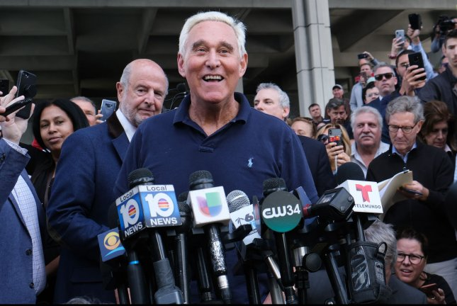 Roger Stone speaks to the media after leaving federal court in Fort Lauderdale, Fla. on Friday. Photo by Gary I Rothstein/UPI