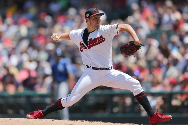 Cleveland Indians pitcher Trevor Bauer decreased his season ERA to 3.55 after allowing just three hits and one run in a win against the Kansas City Royals Wednesday in Cleveland. Photo by Aaron Josefczyk/UPI