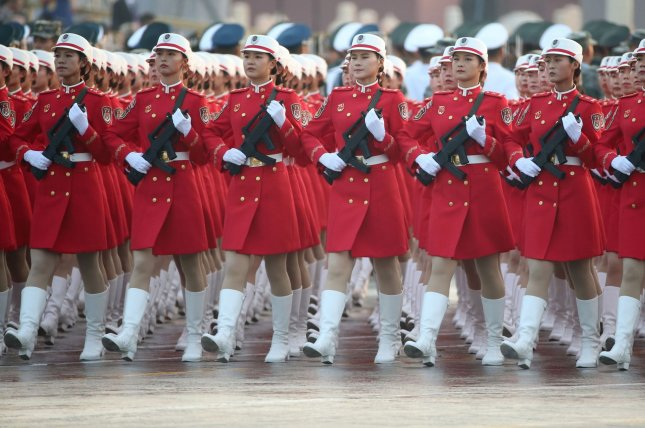 Chinese soldiers of the People's Liberation Army march during a military parade to celebrate the 70th anniversary of the People's Republic of China in Beijing on Tuesday. Photo by Tom Walker/UPI
