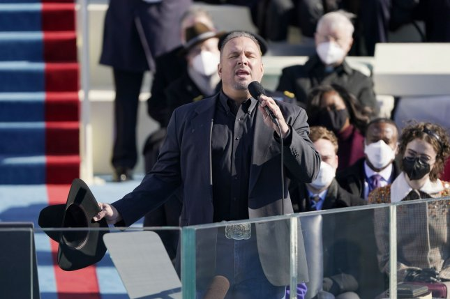 Garth Brooks sings Amazing Grace during the 59th presidential inauguration at the U.S. Capitol in Washington, D.C., on January 20. The singer turns 59 on February 7. Pool photo by Patrick SemanskyUPI