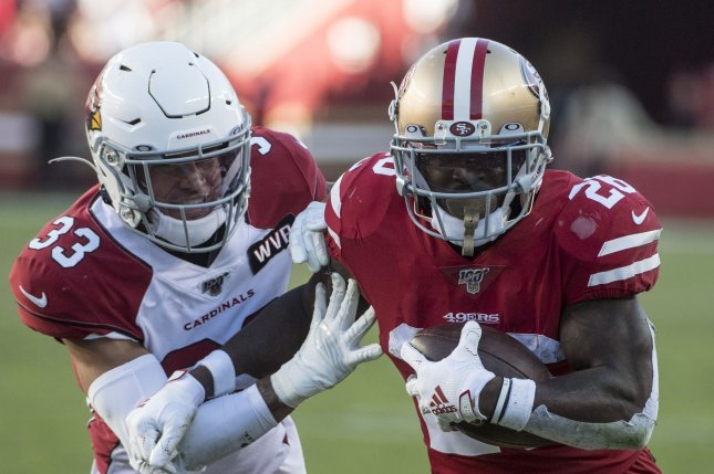 Former San Francisco 49ers running back Tevin Coleman (26) will reunite with former 49ers defensive coordinator Robert Saleh in New York. Saleh became the Jets' new head coach earlier this off-season. File Photo by Terry Schmitt/UPI